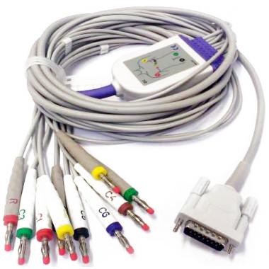 Cabo De Ecg 10 Vias Compatível Eletrocardiógrafo Shiller AT1 Edan