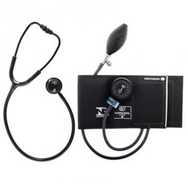 Conjunto Estetoscópio e Esfigmomanômetro Bic Black Edition
