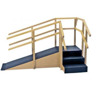 Escada De Canto Com Rampa E Corrimãos Duplos